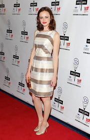 Alexis was a dol at the Lucille Lortel Awards in this striped iridescent number.