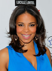 Sanaa Lathan swept on sheer shimmery shades of eyeshadow for the Lucille Lortel Awards.