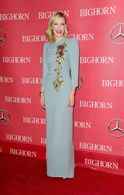 Cate Blanchett cut a regal figure at the Palm Springs International Film Fest in a pale-blue Marc Jacobs gown with floral beading down the bodice.