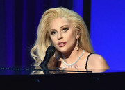 Lady Gaga polished off her look with a diamond collar necklace, also by Chopard.