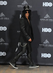 Slash's black blazer provided an elegant finish to his edgy ensemble at the Rock and Roll Hall of Fame Induction Ceremony.