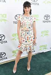 Constance Zimmer looked adorable in a colorful embroidered cocktail dress at the 2018 EMA Awards.