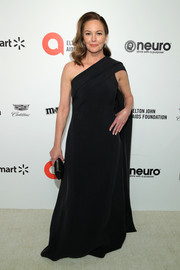 Diane Lane kept it minimal in a black one-shoulder gown at the 2020 Elton John AIDS Foundation Oscar-viewing party.
