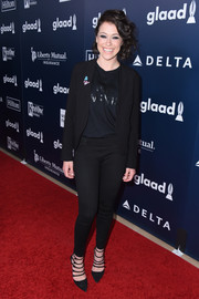 Tatiana Maslany gave her suit a sexy punch with a pair of strappy black pumps when she attended the 2017 GLAAD Media Awards.