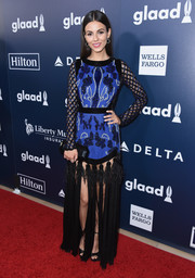Victoria Justice looked fancy in a Raisa & Vanessa gown with lattice sleeves and a fringed hem at the 2017 GLAAD Media Awards.