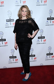 Anna Chlumsky went matchy-matchy at the Lucille Lortel Awards in this embellished black blouse and pants combo.