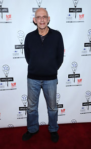 Christopher Lloyd looked laid-back on the Lucille Lortel Awards red carpet in a black half-zip sweater and jeans.