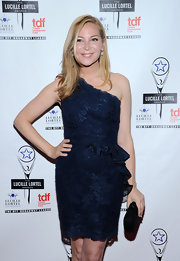 Jennifer Westfeldt oozed ultra-feminine appeal at the Lucille Lortel Awards in a navy lace one-shoulder dress with ruffle detailing.