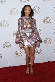 Thandie Newton went all out with the shine in a multicolored sequin mini dress by Marc Jacobs at the Producers Guild Awards.