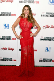 Sofia Vergara flaunted her to-die-for figure in a semi-sheer red cutout gown by Martha Medeiros Maceió at the American Cinematheque Award.