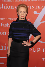 Carolina Herrera looked simply elegant in her beaded blouse at the Fashion Group International Night of Stars.