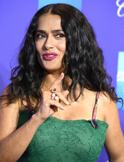 Salma Hayek added a playful touch with a bubble cluster ring.