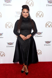 Ava DuVernay complemented her dress with black T-strap pumps by Malone Souliers.