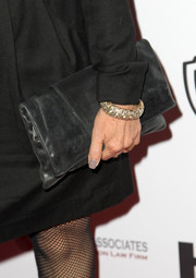 Gia Carides kept it simple with this black leather clutch and LBD combo at the Australians in Film Awards Gala.