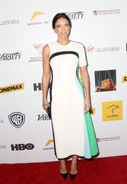 Erica Packer worked an ultra-modern vibe in a one-sleeved Josh Goot dress during the Australians in Film Awards Gala.