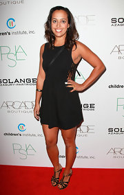 Chudney Ross wore a simple LBD with a lace inset on the side for the Autumn Party.