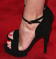 Autumn Reese kept her red carpet look classic and simple with these black platform sandals.