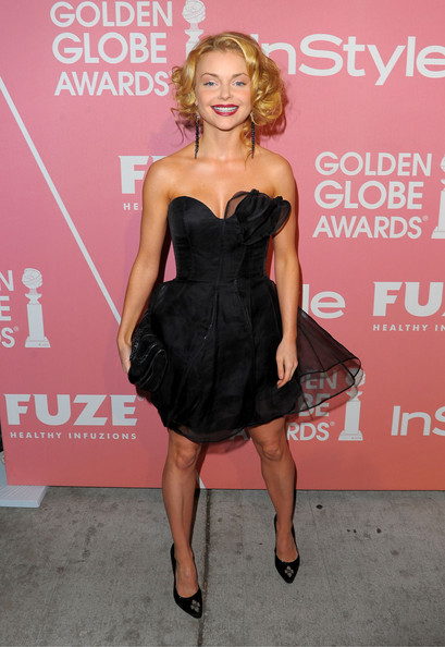 More Pics of Izabella Miko Short Curls (1 of 8) - Izabella Miko Lookbook - StyleBistro [dress,clothing,cocktail dress,strapless dress,little black dress,shoulder,pink,hairstyle,fashion,premiere,young hollywood - arrivals,izabella miko,saluting,hollywood,west hollywood,california,nobu los angeles,golden globes party,party]