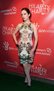 Zoe Lister Jones rocked a sleeveless kaleidoscopic, printed dress at the Hilarity for Charity event in Hollywood.
