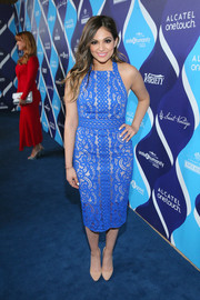 Bethany Mota looked super cute in a bright blue lace cocktail dress during the unite4:humanity event.