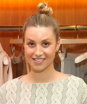 Whitney Port pulled her hair up into a casual top knot for the City of Style event in LA.