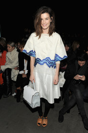 Hanneli Mustaparta topped off her ensemble with a boxy white leather tote.
