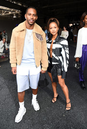 Karrueche Tran donned a black-and-white leather jacket for the 3.1 Phillip Lim fashion show.