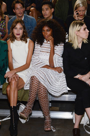 Solange Knowles attended the 3.1 Phillip Lim fashion show wearing an eye-catching pair of Schutz knee-high cage sandals.