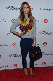 Jessica Alba's black leather tote was a stylish finish to her casual ensemble at the 3.1 Phillip Lim for Target launch event.