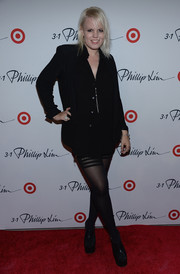 Becka Diamond showed off her edgy red carpet style with this black button-down and tights combo at the 3.1 Phillip Lim for Target launch.