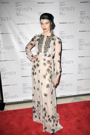 Crystal Renn donned an elegant floral maxi shirtdress for the International Center of Photography Infinity Awards.