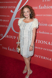 Diane von Furstenberg went for '20s glamour in a beaded shift dress with fur sleeves during the Annual Night of Stars.