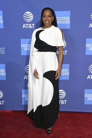 Regina King worked an asymmetrical black-and-white gown by Valentino at the 2019 Palm Springs International Film Festival Awards Gala.