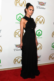 Jordana Brewster glammed up in a black Oscar de la Renta halter gown for the 2019 Producers Guild Awards.