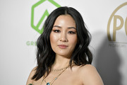 Constance Wu wore her hair in center-parted waves at the 2020 Producers Guild Awards.