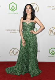 Constance Wu was a green goddess in a strapless paisley-print gown by Etro at the 2020 Producers Guild Awards.