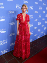 Elizabeth Banks captivated in a deep-V red guipure lace gown by Elie Saab at the Santa Barbara International Film Festival.