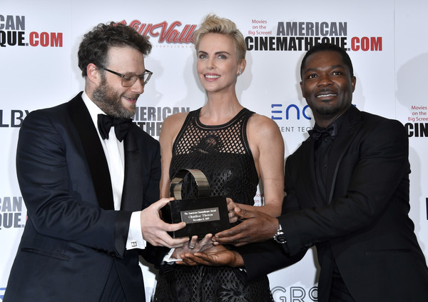 More Pics of Charlize Theron Fauxhawk (1 of 27) - Charlize Theron Lookbook - StyleBistro [award,event,premiere,white-collar worker,award ceremony,charlize theron,david oyelowo,seth rogen,photo op,l-r,california,beverly hills,the beverly hilton hotel,american cinematheque award presentation]