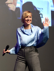 Greta Gerwig spoke onstage at the Santa Barbara International Film Festival wearing a pastel-blue cowl-neck blouse.