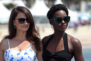 Lupita Nyong'o kept the sun out with a cool pair of green cateye sunnies by Fendi at the Cannes Film Festival photocall for '355.'