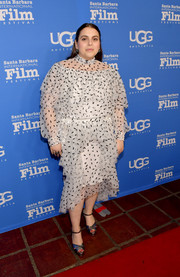 Beanie Feldstein went the frilly route in a ruffled and embroidered dress by Rodarte for the 2020 Santa Barbara International Film Festival.