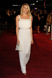 Meredith Ostrom looked like a Grecian princess in a white knit column gown at the London premiere of '360.'