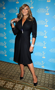 Wendy wowed at the Emmy Awards in a flowing black dress that was cinched at the waist with a sparkling brooch.