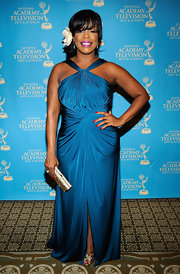 Niecy was beaming at the Daytime Emmys in a beautifully draped turquoise evening dress.