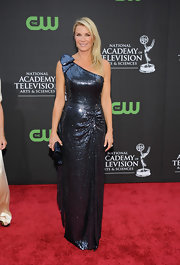 Katherine Kelly Lang brought a heavy dose of sparkle to the Daytime Emmys with a glam gunmetal-gray one-shoulder gown.