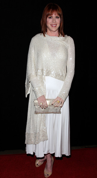 Molly Ringwald lit up the red carpet in an elegant beaded white dress.