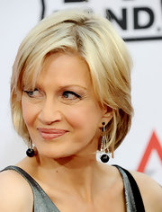 Diane Sawyer accessorized with an eye-catching pair of dangling spheres at the AFI Life Achievement Awards.