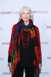 Ellen Burstyn styled her black outfit with a colorful patterned shawl for the Muse Awards.