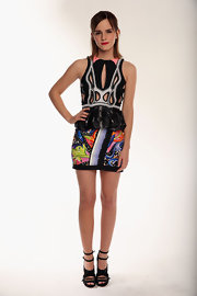 Tabitha Simmons' ankle-strap sandals paired perfectly with Emma Watson's Peter Pilotto mini dress.