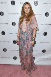 Drew Barrymore brought her boho style to the 3rd Annual Beautycon Festival with this printed maxi dress by BCBG Max Azria.